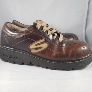 Brown Leather Skechers with Rugged Soles- size-8.5